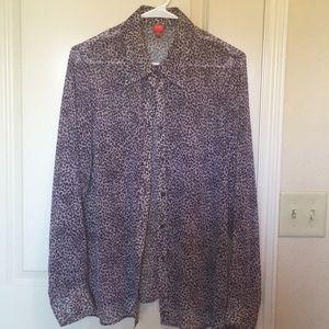 Tops - Sheer Purple Leopard Button Up